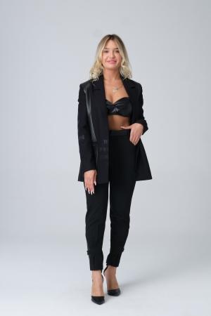 Vangeliza - 6016 Paçası Deri Bantlı Pantolon
